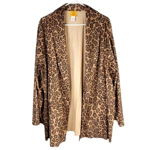 Leopard animal print open front duster cardigan